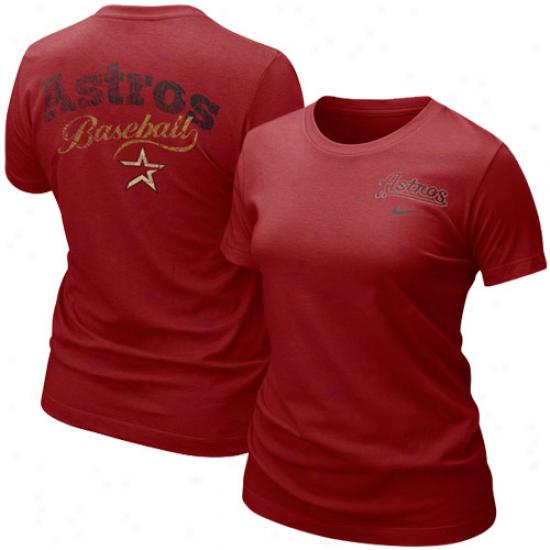 Nike Houston Astros Ladies Crimson Graphic Tri-blend T-shirt