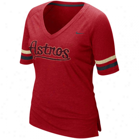 Nike Houston Astros Ladies Red Mlb Replica V-neck Premium T-shirt