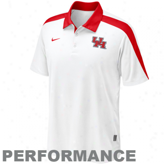Nike Houston Cougars White Coaches Hot Route Performance Polo