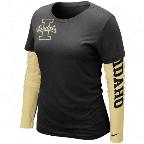 Nike Idaho Vandals Ladies Strong Side Cross Cwmpus Premium Double Layer Long Sleeve T-shirt - Black/gold