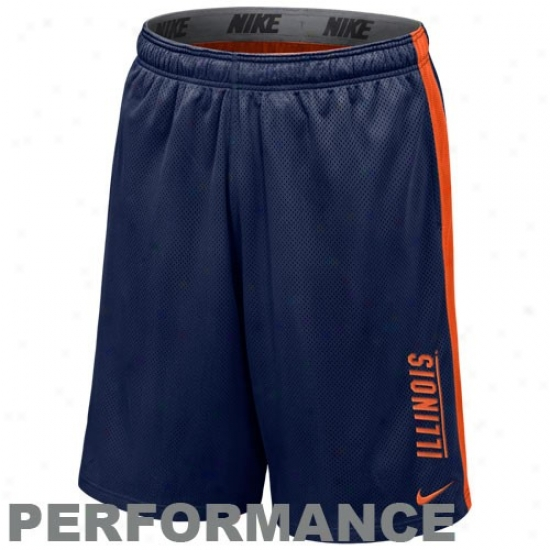 Nike Illinois Fighting Illini Navy Blue-orange Varsity Mesh Action Shorts