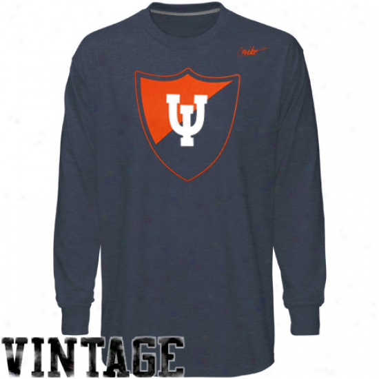 Nike Illinois Fightign Illini Vault Vingage Heathered Long Sleeve T-shirt - Navy Blue