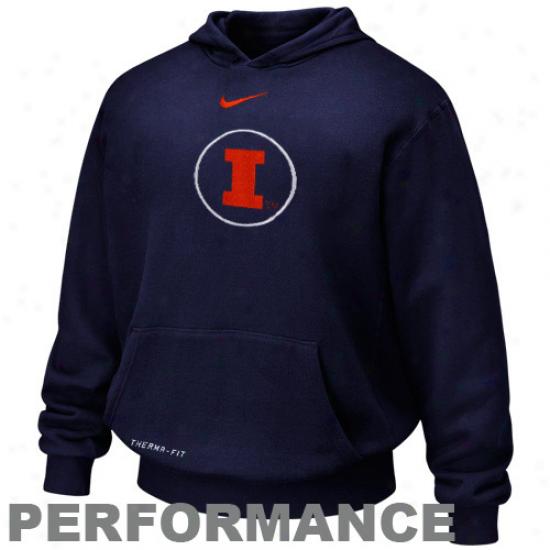 Nike Illinois Fighting Illini Youth Navy Blue Basic Logo Performance Pullover Hoody Sweatshirt