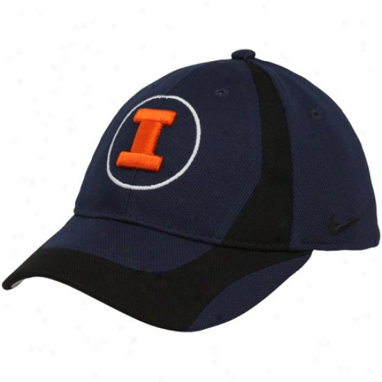 Nike Illinois Fighting Illini Youth Navy Blue-black Team Flex Hat