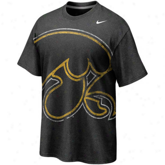 Nike Iowa Hawkeyes Distended Time Tri-blend T-shirt - Charcoal
