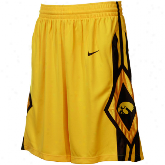 Nike Iowa Hawkeyes Gold Replica Basketball Shorts