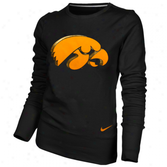 Nike Iowa Hawkeyes Ladies Black Exceed Pullover Crew Sweatshirt