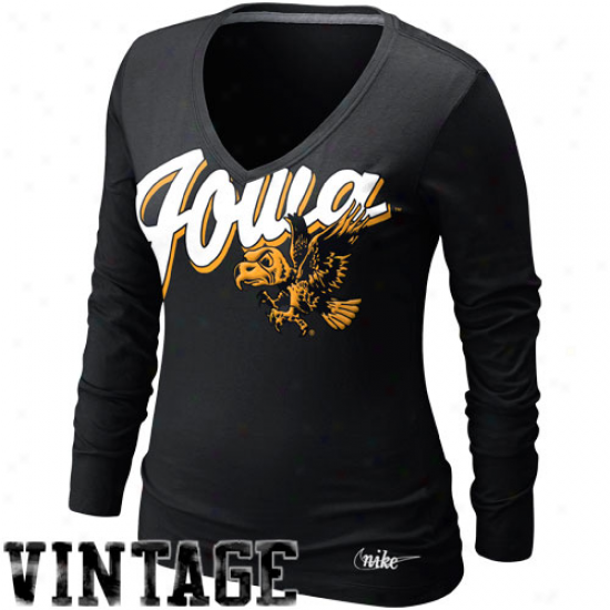 Nike Iowa Hawkeyes Ladies Vault University V-neck Long Sleeve T-shirt - Black