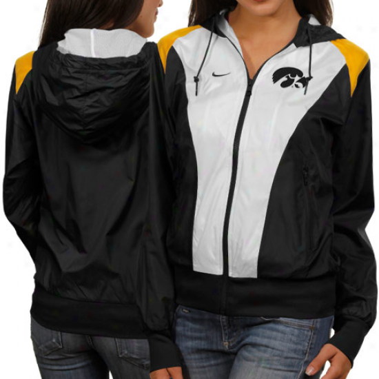 Nike Iowa Hawkeyes Ladies White-black Sprint Full Zip Hoodie Jacket