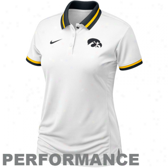 Nike Iowa Hawkeyes Ladies White Sideline Composition Polo