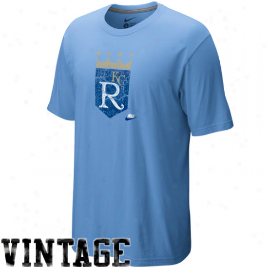 Nike Kansas City Royals Light Blue Dugout Logo Vintage Tri-blend T-shirt