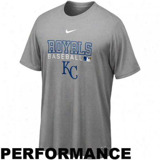 Nike Kansas City Royals Mlb Authentic Collection Team Issue Legend Performance T-shirt - Ash