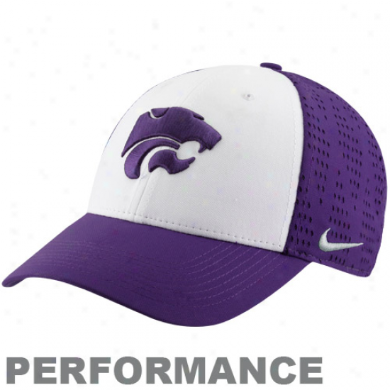Nike Kansas State Wildcats Whjte-purple Screen & Roll Performance Legacy 91 Swoosh Flex Hat