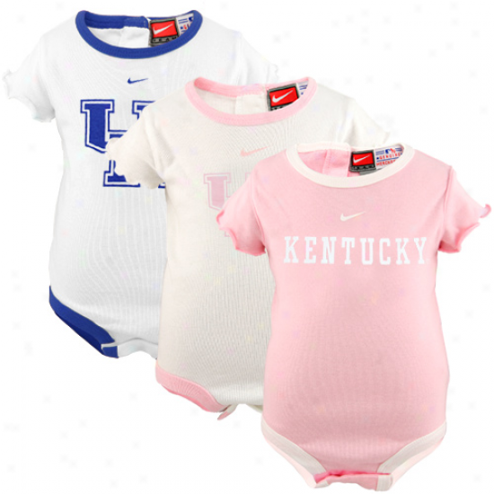 Nike Kentucky Wildcats Infant Girls Pink-white 3-pack Creeper Set
