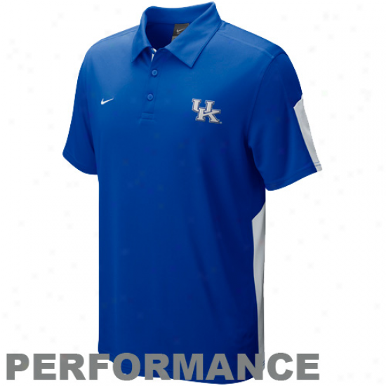 Nike Kebtucky Wildcats Royal Blue Sphefe Perfo5mance Polo