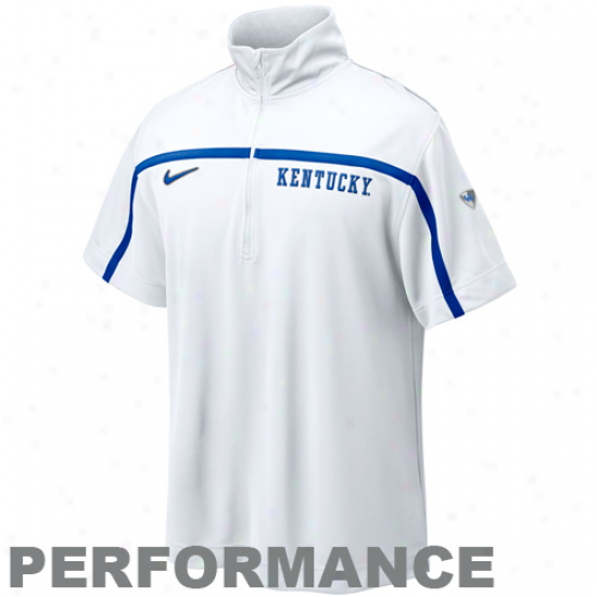 Nike Kentucky Wildcats White Elite Shoootaround Quarter Zip Performance Top