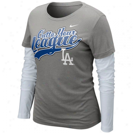 Nike L.a. Dodgers Ladies League Double Layer Long Sleeve T-shirt - Charcoal-white