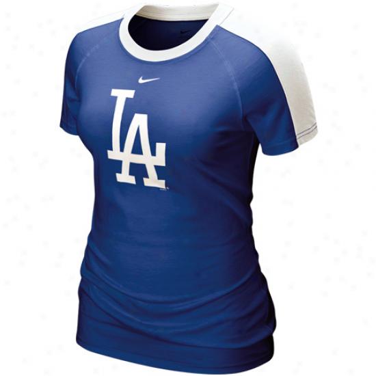 Nike L.a. Dodgers Ladies Royal Blue Centerfield T-shirt