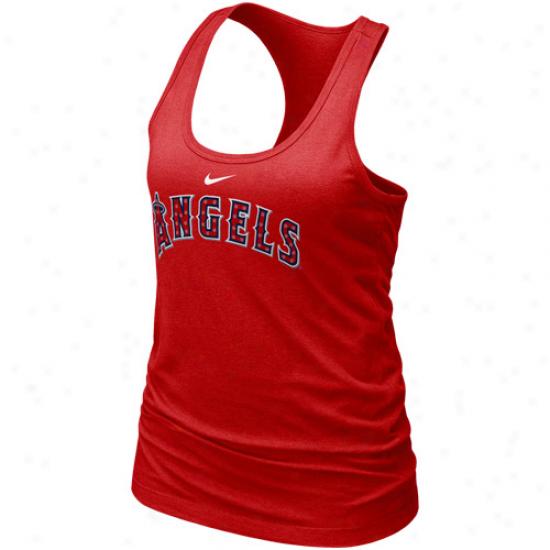 Nike Los Angeles Angels Of Anaheim Ladies Red Mlb Bling Premium Racerback Tank Top