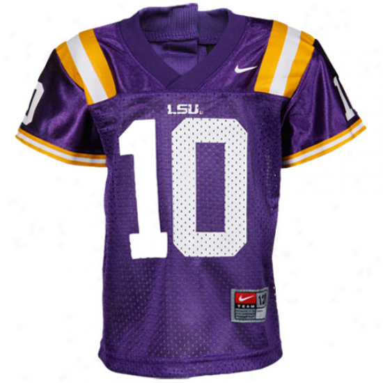 Nike Lsu Tigwrs #10 Infant Replica Fpotball Jersey - Purple