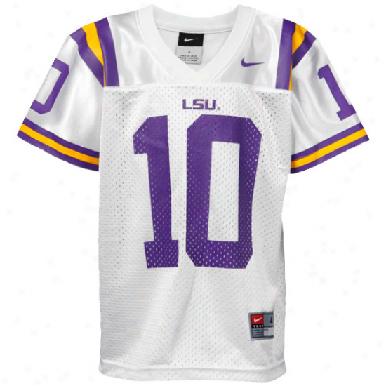 Nike Lsu Tigers #10 Preschool Replica Football Jersey-white