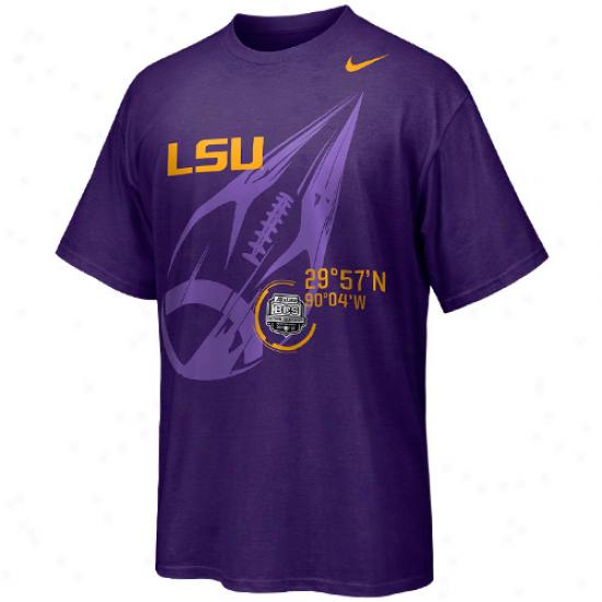 Nike Lsu Tigers 2012 Bcs Public Championship Bound Football Target T-shirt - Purple