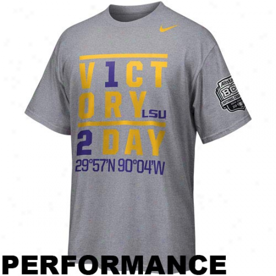 Nike Lsu Tigers 2012 Bcs National Championship Game Bound Victory Fable Performace T-shirt - Ash