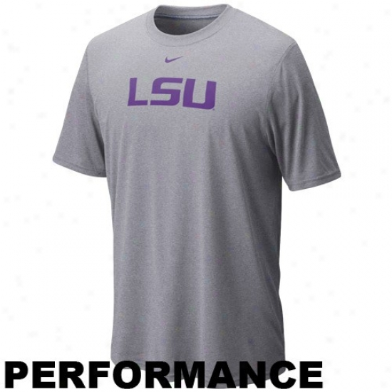 Nike Lsu Tigers Ash Legend Logo Performance T-shirt