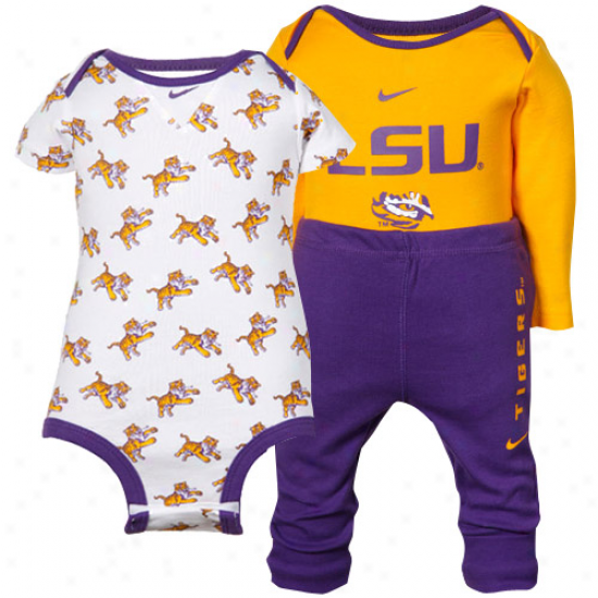 Nike Lsu Tigers Infant Purple-gold 3-piece Creeper And Pants Set