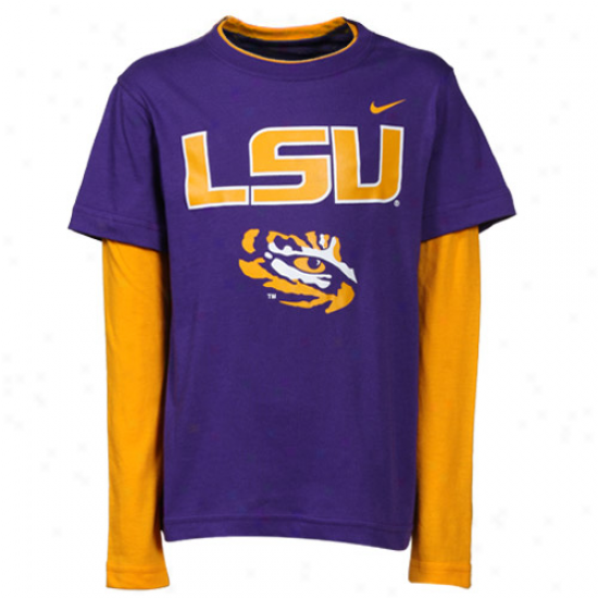 Nike Lsu Tigers Preschool Splitter Double Layer T-shirt- Prple-gold