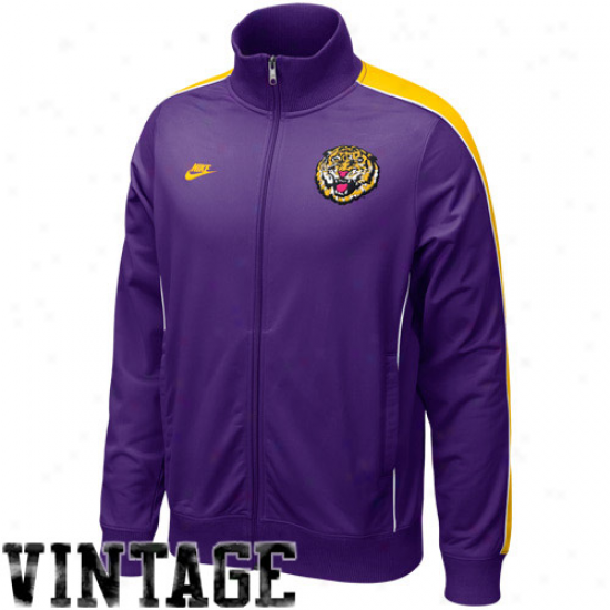 Nike Lsu Tigers Purple Road Trip Vintage Full Zip Trail Jacket