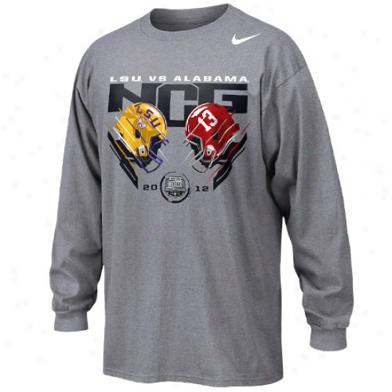 Nike Lsu Tigers Vs. Alabama Cromson Tide 2012 Bcs National Championship Bound Head To Head Long Sleeve T-shirt - Ash