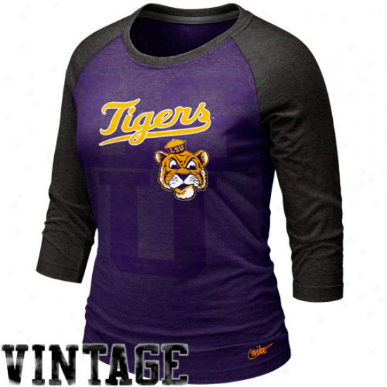 Nike Lsu Tigers Women's Vault Raglan T-shrkt -  Purple-charcoal