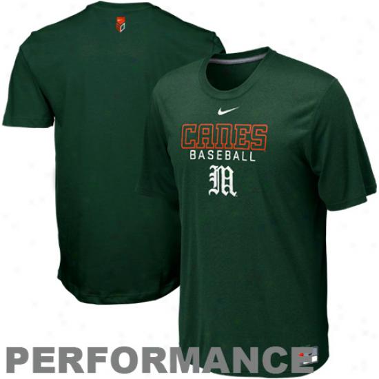 Nike Miami Hurricanes Baseball Legend Ii Performance T-shirt - Green
