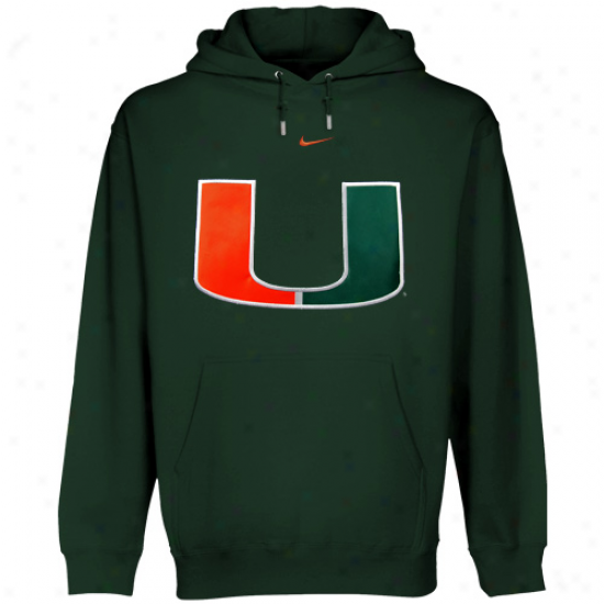 Nike Miami Hurricanes Green Classic Logo Pullover Hoodie Sweatshirt