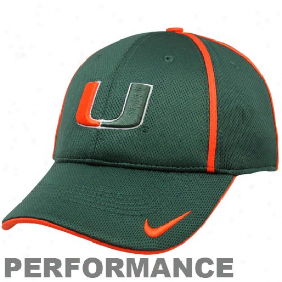 Nike Miami Hurricanes Green Legacy 91 Conference Swoosh Ii Flex Performance Hat