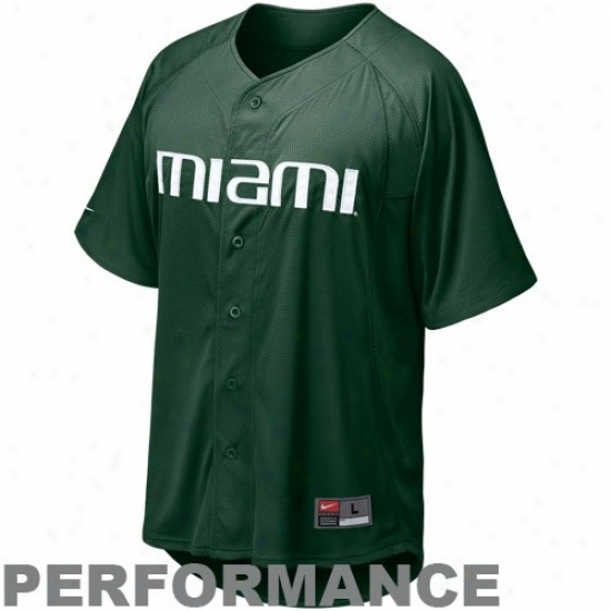 Nike Miami Hurricanes Green Nikefit Performance Replica Baseball Jersey
