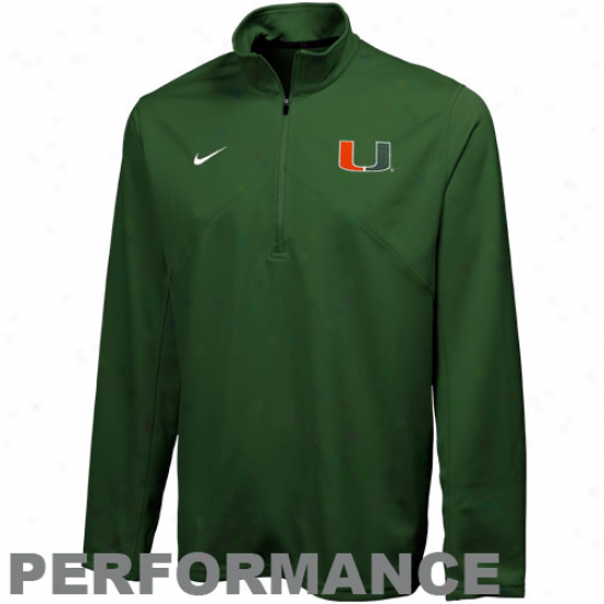 Nike Miami Hurricanes Green Training Performance Quarter Zip Pullover Jacket