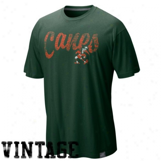 Nike Miami Hurricanes Green Vault Dissertation Distressed Heathered Bamboo T-shirt