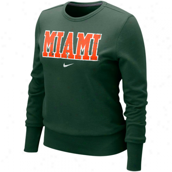 Nike Miami Hurricanes Ladues Green Comfy Crew Pullover Sweatshirt
