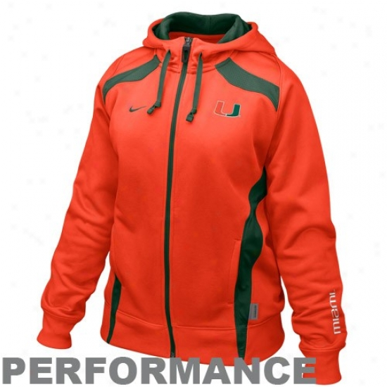 Nike Miami Hurricanes Ladies Orange Power Full Zip Performance Hoody Sweatshirt