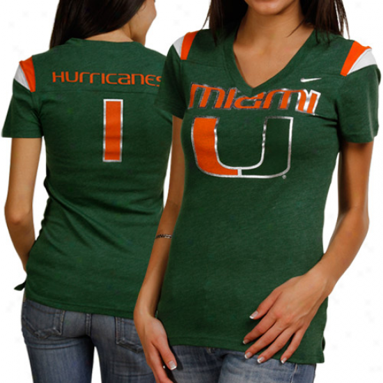 Nike Miami Hurricanes Ladies Replica Football V-neck  T-shirt - Green
