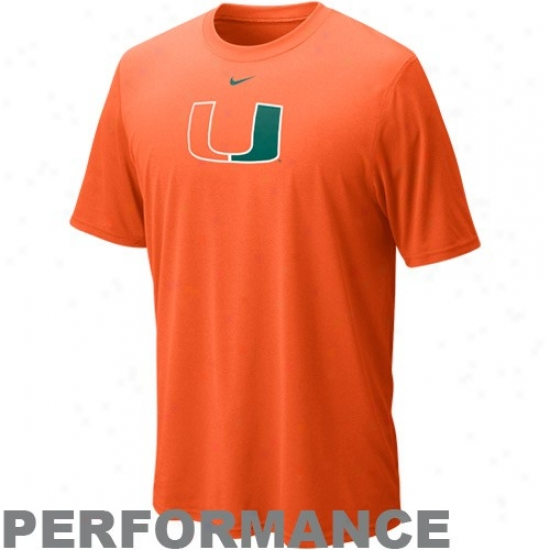 Nike Miami Hurricanes Orange Legend Logo Performance T-shirt