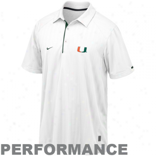 Nike Miami Hurricanes White Conference Action Polo -