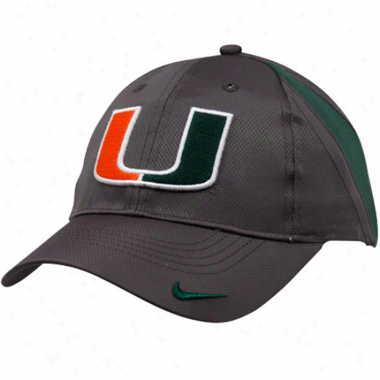 Nike Miami Hurricanes Youth Charcoal Training Camp  Adjustable Cardinal's office