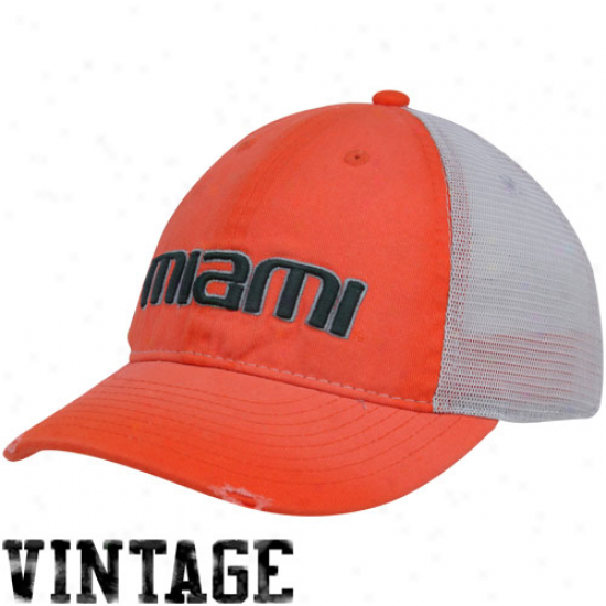 Nike Miami Hurricanes Youth Orange Washed Trucker Hat