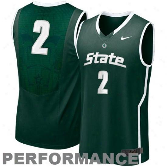 Nike Micihgan State Spartans #2 Aerographic Hyperelite Tackle Twill Basketball Performance Jersye - Green