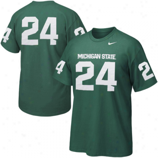 Nike Michigan State Spartans #24 Replica Football Player T-shirt - Green