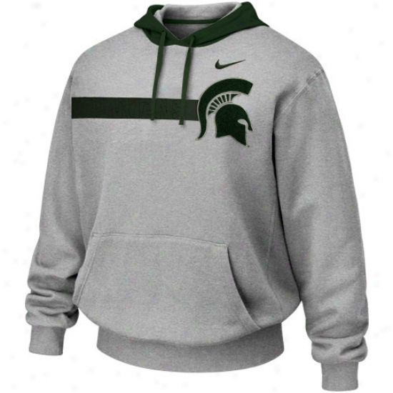 Nike Michigan State Spartans Ash Bump 'n Run Hoodie Sweatshirt