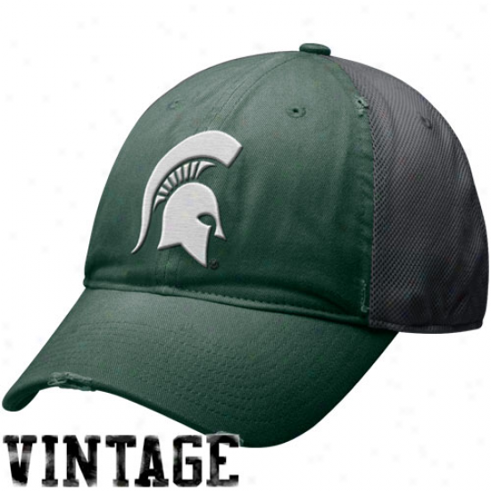 Nike Michigan State Spartans Green-gray Heritage 86 Mesh Swoosh Flex Hat